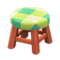 Wooden Stool (Cherry Wood - Green) NH Icon.png