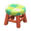 Wooden Stool (Cherry Wood - Green)