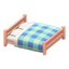 Wooden Double Bed (Pink Wood - Blue)