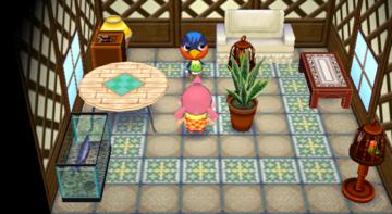 Interior of Robin's house in Animal Crossing: City Folk