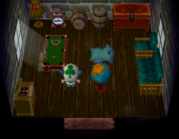Interior of Rocco's house in Animal Crossing
