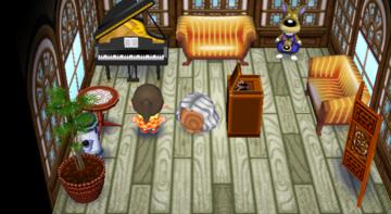 Interior of Kitt's house in Animal Crossing: City Folk