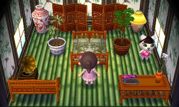 Interior of Pekoe's house in Animal Crossing: New Leaf