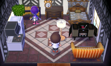 Interior of Queenie's house in Animal Crossing: New Leaf