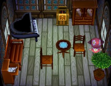 Interior of Kitt's house in Animal Crossing