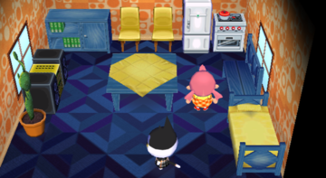 Interior of Punchy's house in Animal Crossing: City Folk