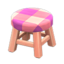 Wooden Stool (Pink Wood - Pink)