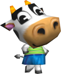Belle, an Animal Crossing villager.