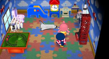 Interior of Roald's house in Animal Crossing: City Folk