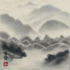 Hanging Scroll with the Mountains pattern applied.
