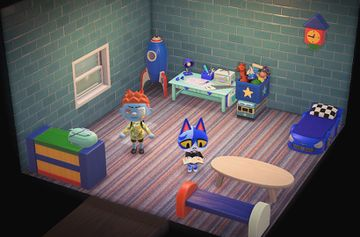 Interior of Moe's house in Animal Crossing: New Horizons