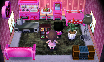 Interior of Agnes's house in Animal Crossing: New Leaf
