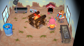 Interior of Boone's house in Animal Crossing: City Folk