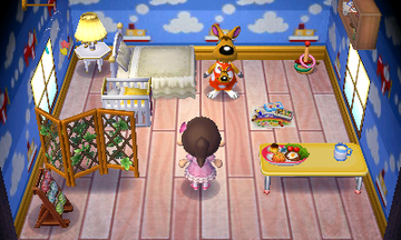 Interior of Carrie's house in Animal Crossing: New Leaf