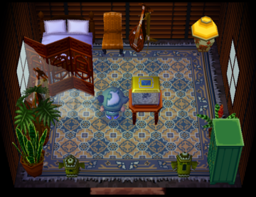 Interior of Cashmere's house in Animal Crossing