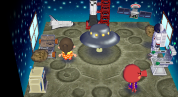 Interior of Octavian's house in Animal Crossing: City Folk