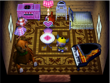 Interior of Bunnie's house in Animal Crossing