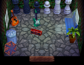 Interior of Buzz's house in Animal Crossing