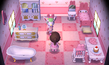 Interior of Chelsea's house in Animal Crossing: New Leaf