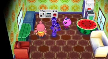 Interior of Peanut's house in Animal Crossing: City Folk