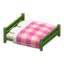 Wooden Double Bed (Green - Pink)