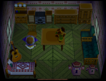 Interior of Cookie's house in Animal Crossing