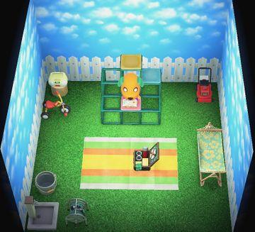 Interior of Biskit's house in Animal Crossing: New Horizons