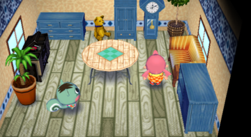 Interior of Mint's house in Animal Crossing: City Folk