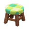 Wooden Stool (Dark Wood - Green) NH Icon.png