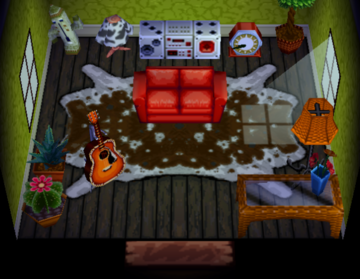 Interior of Petunia (cow)'s house in Animal Crossing