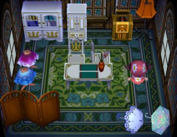 Interior of Friga's house in Animal Crossing