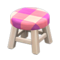 Wooden Stool (White Wood - Pink) NH Icon.png