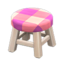 Wooden Stool (White Wood - Pink)