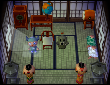 Interior of Cyrano's house in Animal Crossing