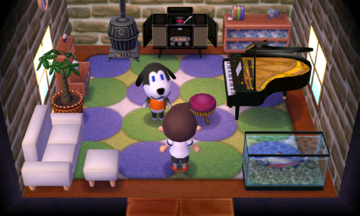 Interior of Walker's house in Animal Crossing: New Leaf
