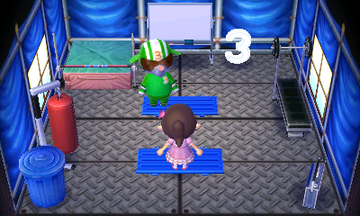 Interior of Big Top's house in Animal Crossing: New Leaf
