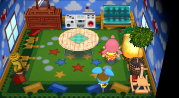 Interior of Broccolo's house in Animal Crossing: City Folk