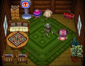 Interior of Sydney's house in Animal Crossing