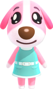 Cookie, an Animal Crossing villager.