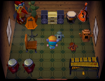 Interior of Rio's house in Animal Crossing
