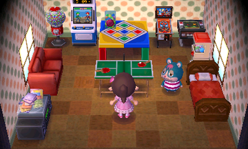 Interior of Rodney's house in Animal Crossing: New Leaf