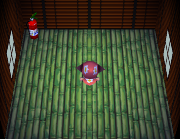 Interior of Boomer's house in Animal Crossing