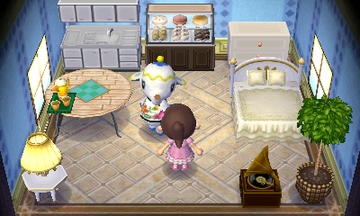 Interior of Tia's house in Animal Crossing: New Leaf