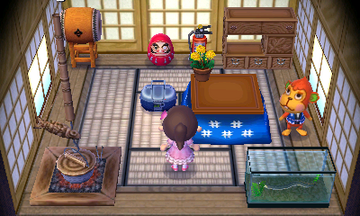 Interior of Flip's house in Animal Crossing: New Leaf