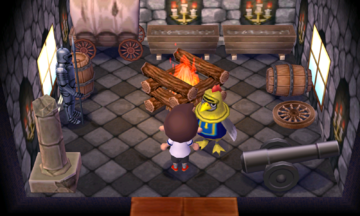 Interior of Knox's house in Animal Crossing: New Leaf