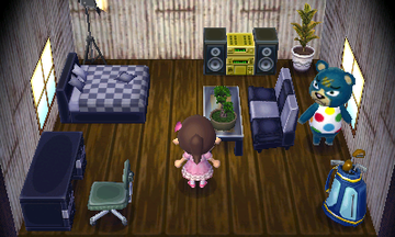 Interior of Groucho's house in Animal Crossing: New Leaf