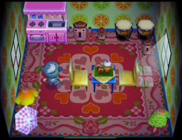 Interior of Truffles's house in Animal Crossing