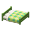 Wooden Double Bed (Green - Green)