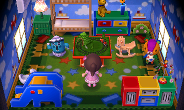Interior of Stitches's house in Animal Crossing: New Leaf