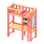 Loft Bed with Desk (Pink - Red Stripes)